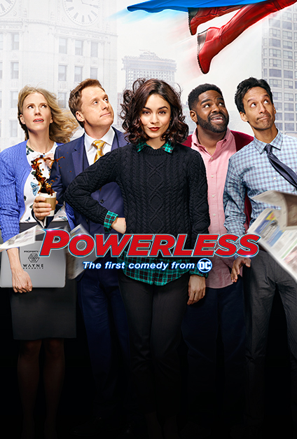 Christina Kirk, Alan Tudyk, Vanessa Hudgens, Danny Pudi, and Ron Funches in Powerless (2017)
