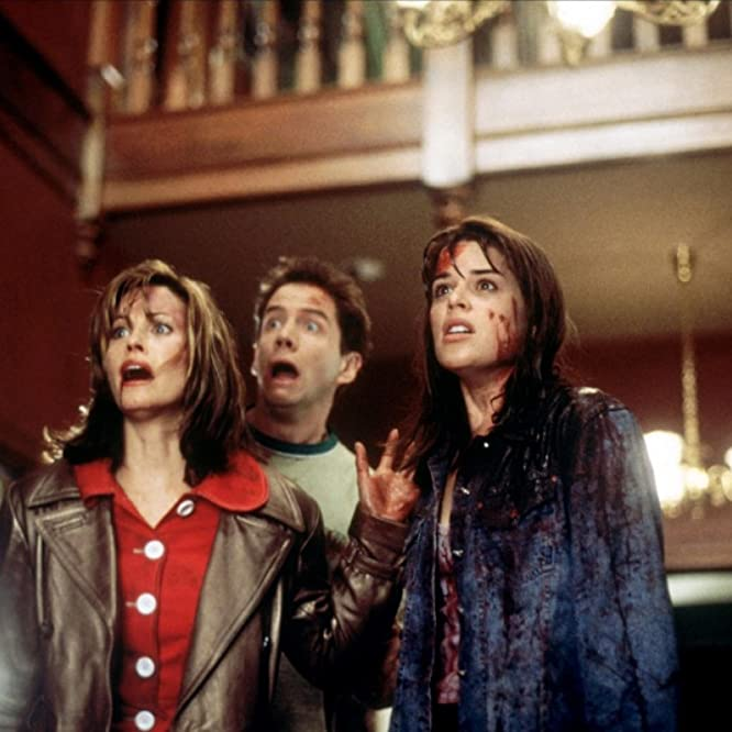 Neve Campbell, Courteney Cox, and Jamie Kennedy in Scream (1996)