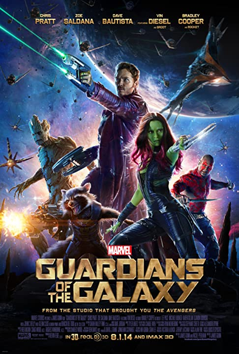 Vin Diesel, Bradley Cooper, Chris Pratt, Zoe Saldana and Dave Bautista in Guardians of the Galaxy (2014) movies365.in