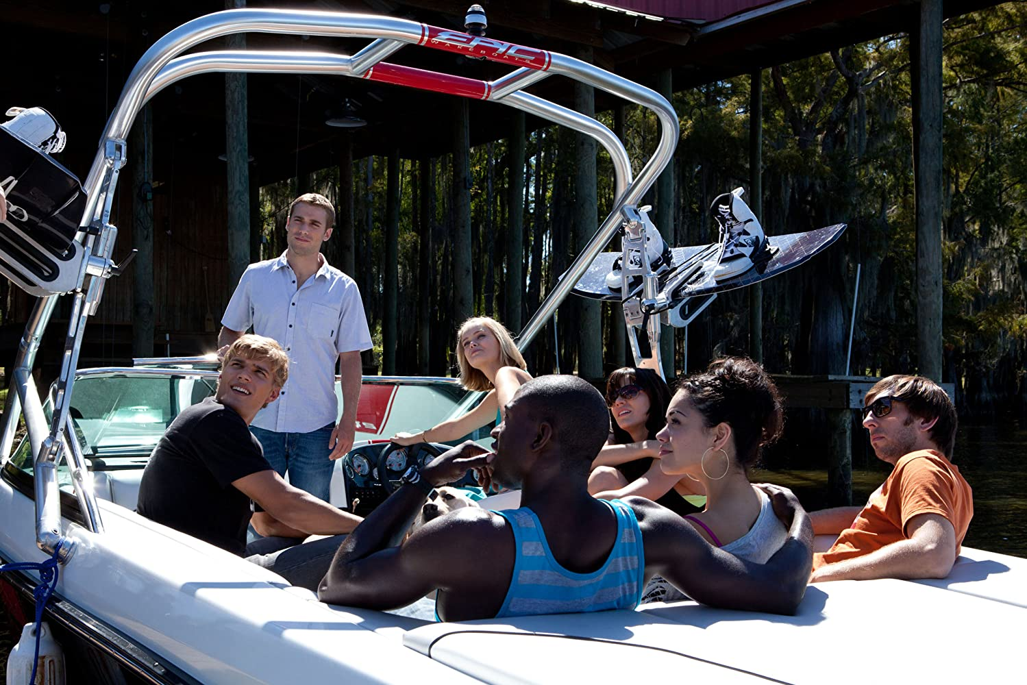 Joel David Moore, Sara Paxton, Alyssa Diaz, Dustin Milligan, Katharine McPhee, Sinqua Walls, and Chris Zylka in Shark Night 3D (2011)