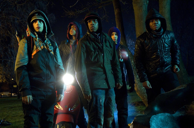 Franz Drameh, Alex Esmail, Leeon Jones, John Boyega, and Simon Howard in Attack the Block (2011)