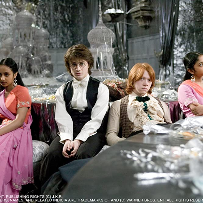 Rupert Grint, Daniel Radcliffe, Afshan Azad, and Shefali Chowdhury in Harry Potter and the Goblet of Fire (2005)