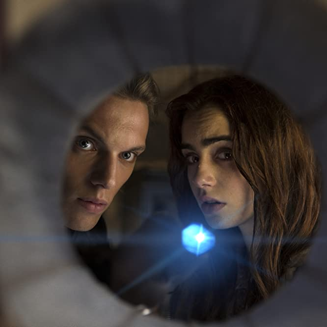 Jamie Campbell Bower and Lily Collins in The Mortal Instruments: City of Bones (2013)