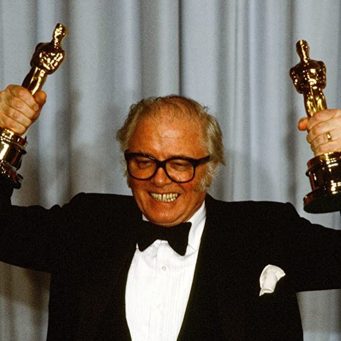 Richard Attenborough poses backstage after winning 'Best Director' and 'Best Picture' for 'Gandhi' at the 55th Academy Awards at Dorothy Chandler Pavilion in Los Angeles, Calif.