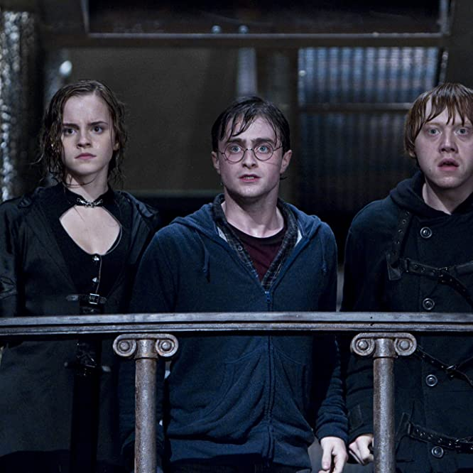 Rupert Grint, Daniel Radcliffe, and Emma Watson in Harry Potter and the Deathly Hallows: Part 2 (2011)