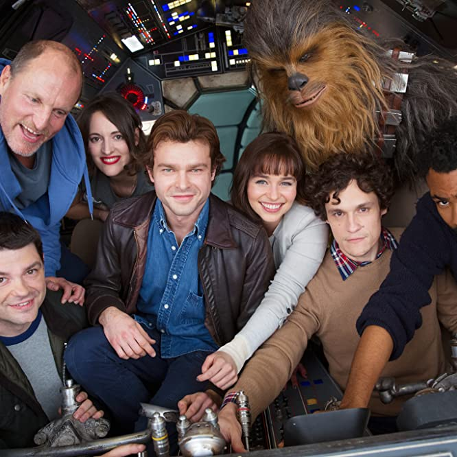 Woody Harrelson, Phil Lord, Christopher Miller, Donald Glover, Alden Ehrenreich, Phoebe Waller-Bridge, Emilia Clarke, and Joonas Suotamo in Solo: A Star Wars Story (2018)