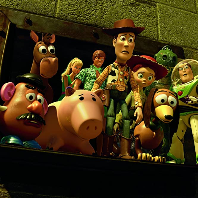 Tom Hanks, Joan Cusack, Michael Keaton, Tim Allen, John Ratzenberger, Wallace Shawn, Jodi Benson, Blake Clark, and Don Rickles in Toy Story 3 (2010)