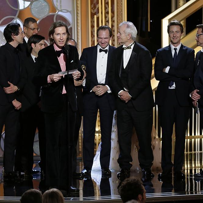 Ralph Fiennes, Jeff Goldblum, Bill Murray, Robert Downey Jr., Edward Norton, Adrien Brody, Jason Schwartzman, and Wes Anderson at an event for 72nd Golden Globe Awards (2015)
