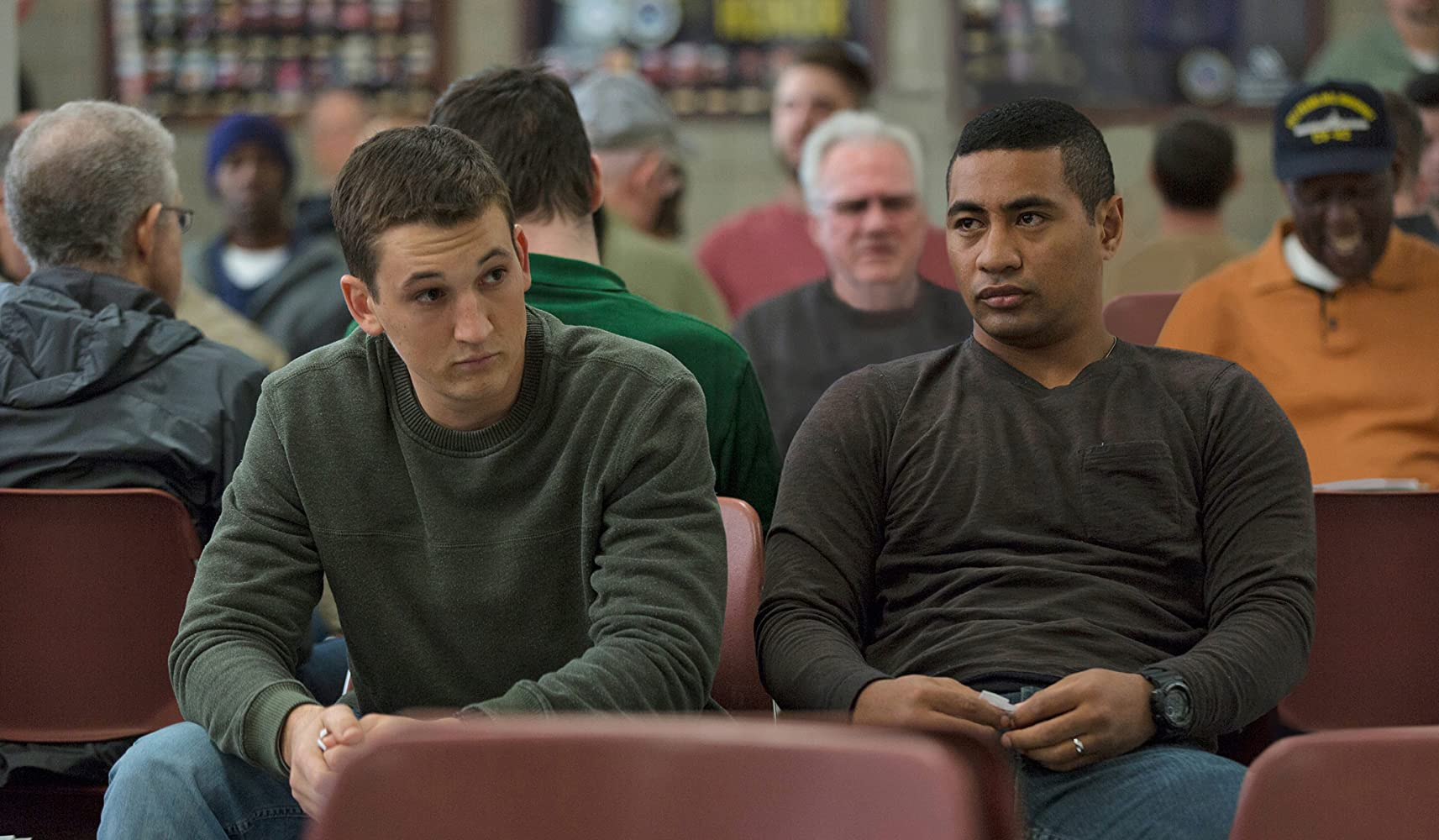 Miles Teller and Beulah Koale in Thank You for Your Service (2017)