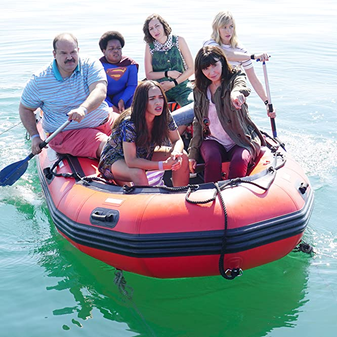January Jones, Mary Steenburgen, Mel Rodriguez, Kristen Schaal, Cleopatra Coleman, and Keith L. Williams in The Last Man on Earth (2015)