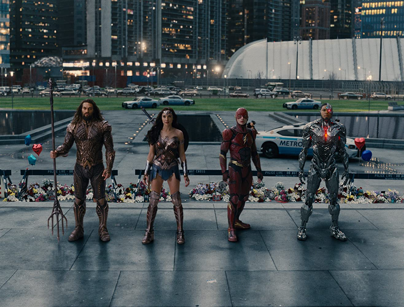 Jason Momoa, Gal Gadot, Ezra Miller, and Ray Fisher in Justice League (2017)