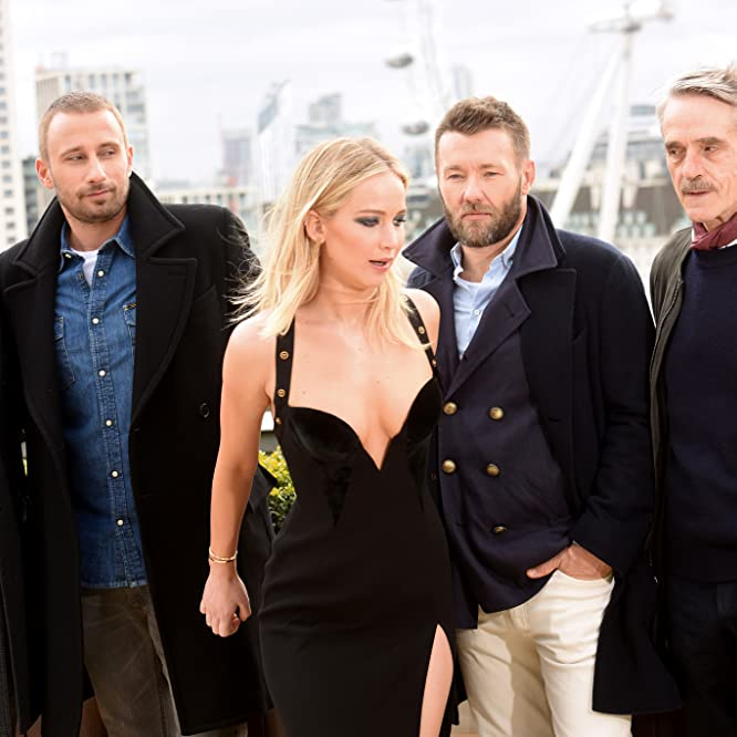 Jeremy Irons, Joel Edgerton, Matthias Schoenaerts, Francis Lawrence, and Jennifer Lawrence at an event for Red Sparrow (2018)