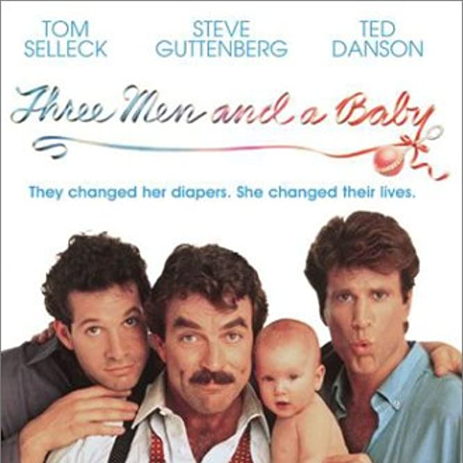 Steve Guttenberg, Tom Selleck, and Ted Danson in 3 Men and a Baby (1987)