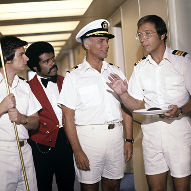 Fred Grandy, Bernie Kopell, Ted Lange, and Gavin MacLeod in The Love Boat (1977)