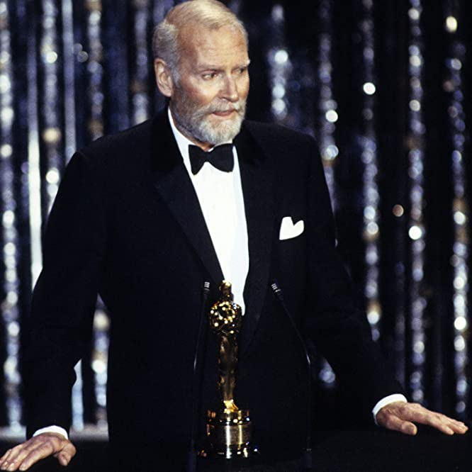 Sir Laurence Olivier, one of the presenters of the 1959 Oscar ceremony, receives an Honorary Oscar in 1979.