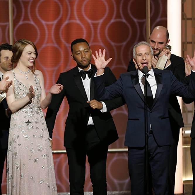 Ryan Gosling, Marc Platt, Emma Stone, Fred Berger, John Legend, and Jordan Horowitz at an event for The 74th Golden Globe Awards (2017)