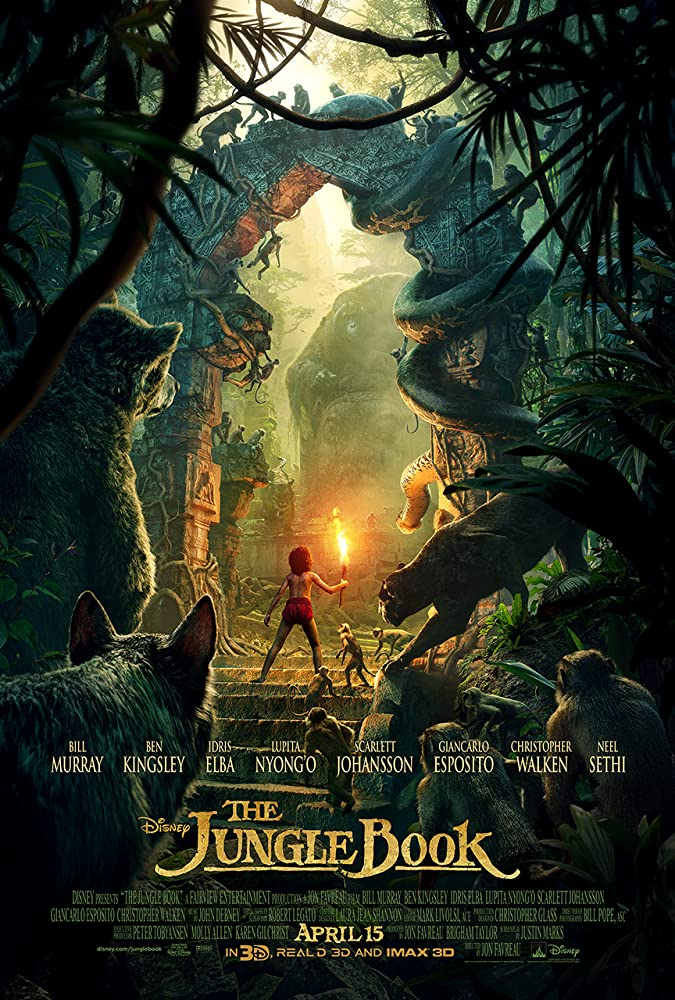 Bill Murray, Christopher Walken, Ben Kingsley, Giancarlo Esposito, Idris Elba, Scarlett Johansson, Lupita Nyong'o, and Neel Sethi in The Jungle Book (2016)