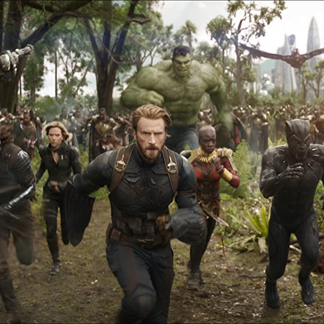 Don Cheadle, Chris Evans, Scarlett Johansson, Mark Ruffalo, Anthony Mackie, Chadwick Boseman, Sebastian Stan, and Danai Gurira in Avengers: Infinity War (2018)