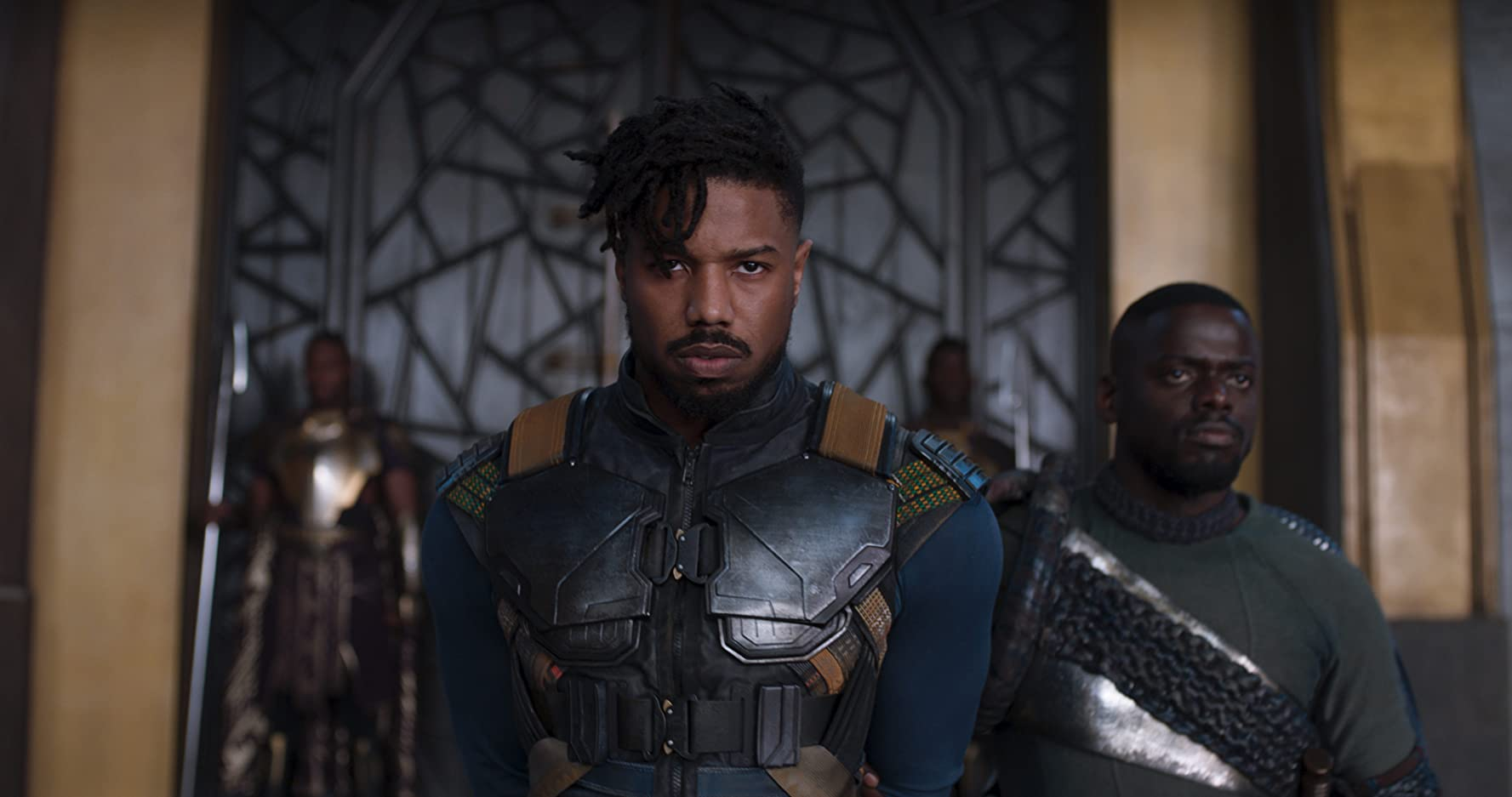 Michael B. Jordan and Daniel Kaluuya in Black Panther (2018)
