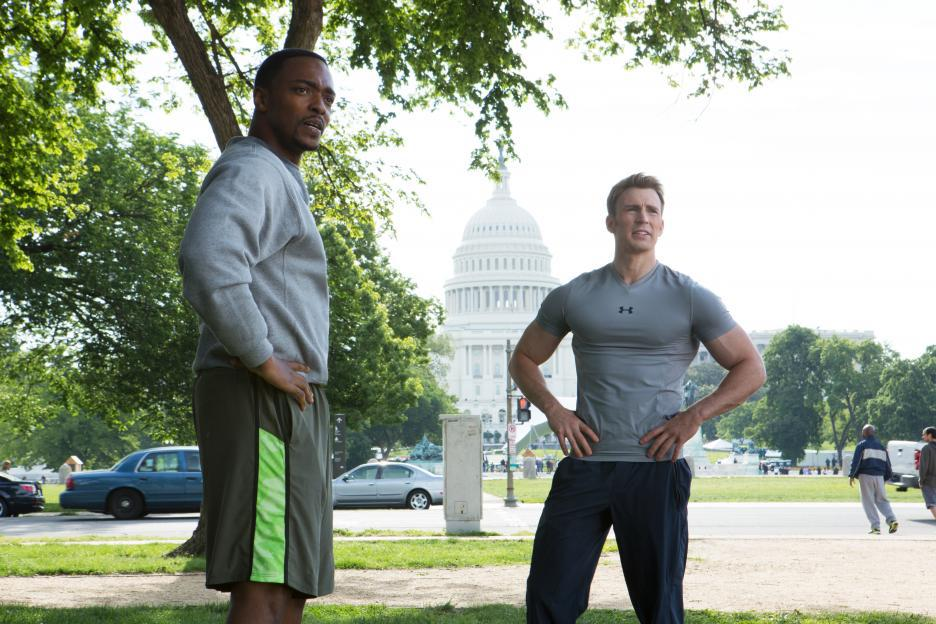 Chris Evans and Anthony Mackie in Captain America: The Winter Soldier (2014)