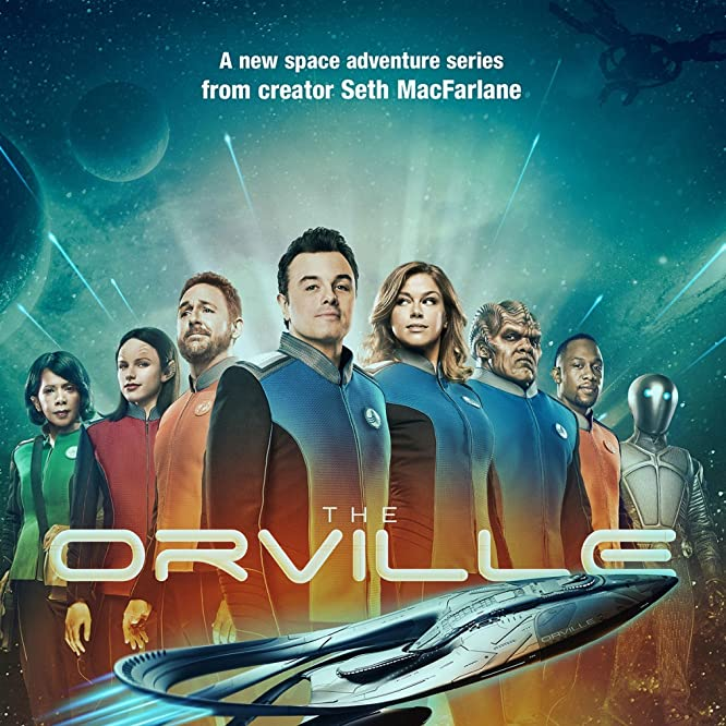 Scott Grimes, Penny Johnson Jerald, Seth MacFarlane, Peter Macon, Adrianne Palicki, J. Lee, Mark Jackson, and Halston Sage in The Orville (2017)