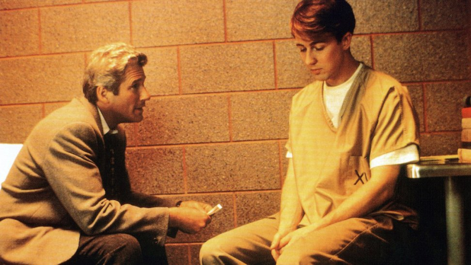 Young actor Edward Norton with Richard Gere in movie Primal Fear in 1997