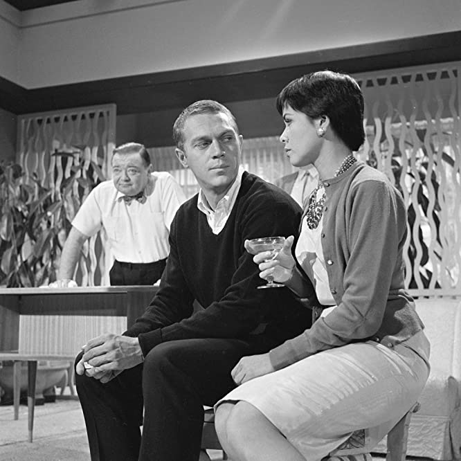 Peter Lorre, Steve McQueen, and Neile Adams in Alfred Hitchcock Presents (1955)