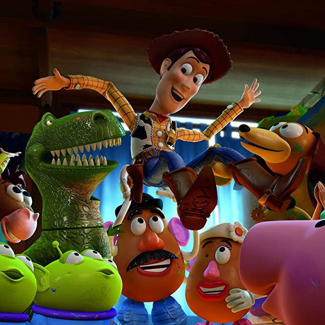 Tom Hanks, Joan Cusack, John Ratzenberger, Wallace Shawn, Jodi Benson, Blake Clark, Estelle Harris, and Don Rickles in Toy Story 3 (2010)