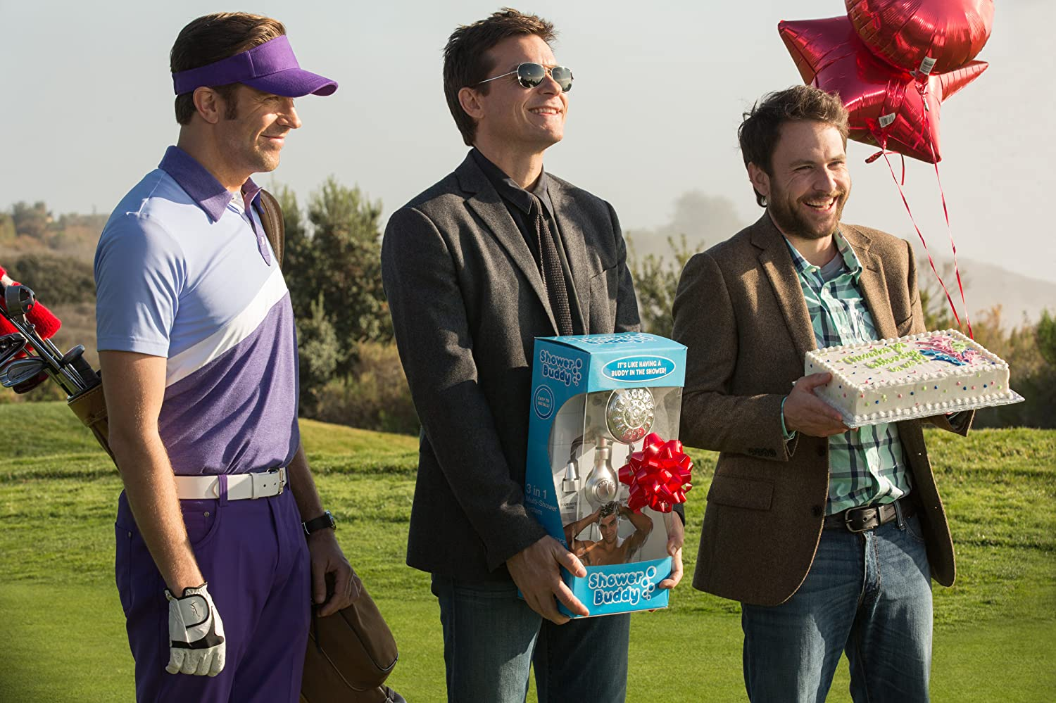 Jason Bateman, Charlie Day, Jason Sudeikis, and Chris Pine in Horrible Bosses 2 (2014)