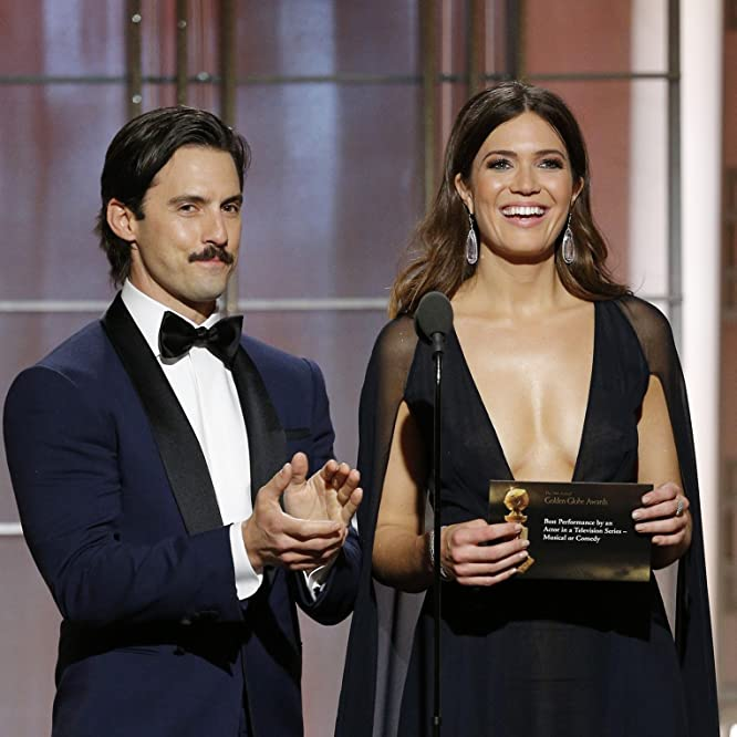Mandy Moore and Milo Ventimiglia at an event for The 74th Golden Globe Awards (2017)