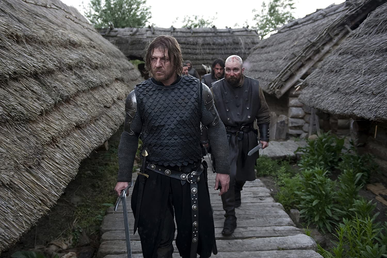 Sean Bean, Johnny Harris, and Emun Elliott in Black Death (2010)