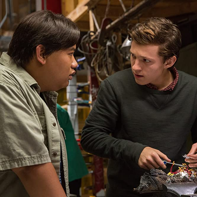 Tom Holland and Jacob Batalon in Spider-Man: Homecoming (2017)