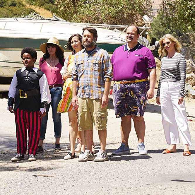 January Jones, Mary Steenburgen, Will Forte, Mel Rodriguez, Kristen Schaal, and Keith L. Williams in The Last Man on Earth (2015)