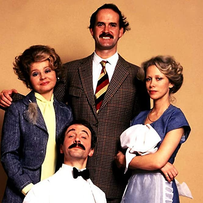 John Cleese, Connie Booth, Andrew Sachs, and Prunella Scales in Fawlty Towers (1975)