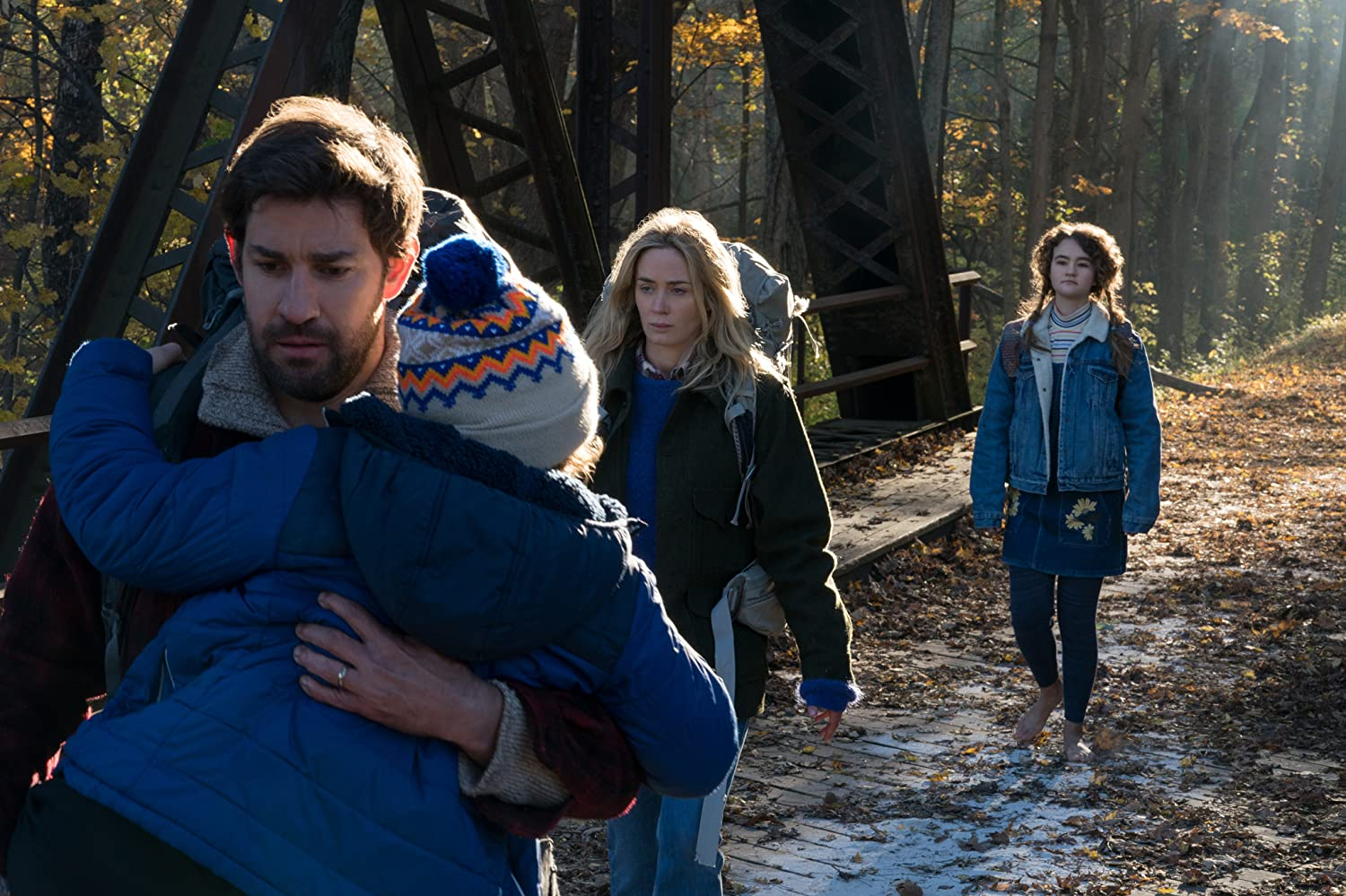 John Krasinski, Emily Blunt, Noah Jupe, and Millicent Simmonds in A Quiet Place (2018)