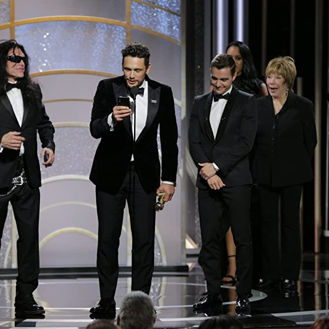 Shirley MacLaine, James Franco, Emma Stone, Tommy Wiseau, and Dave Franco at an event for The Disaster Artist (2017)