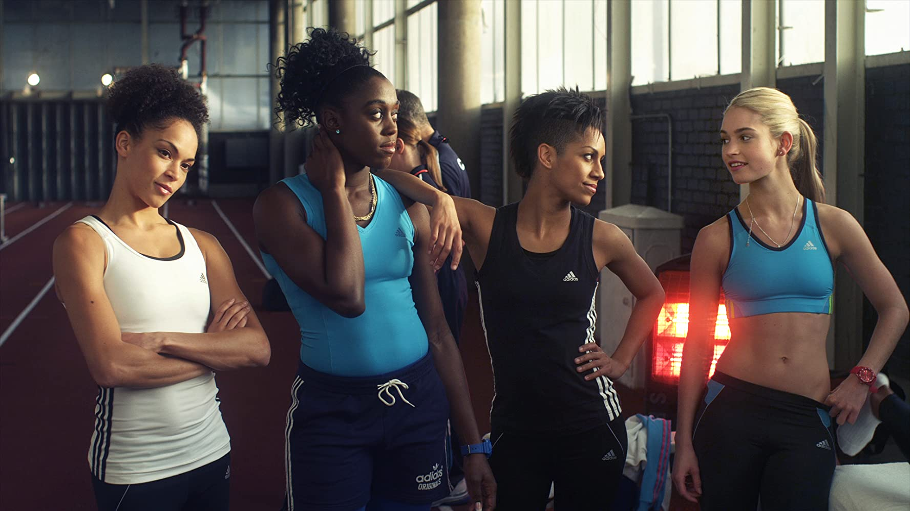 Lashana Lynch, Lily James, Dominique Tipper, and Hannah Frankson in Fast Girls (2012)