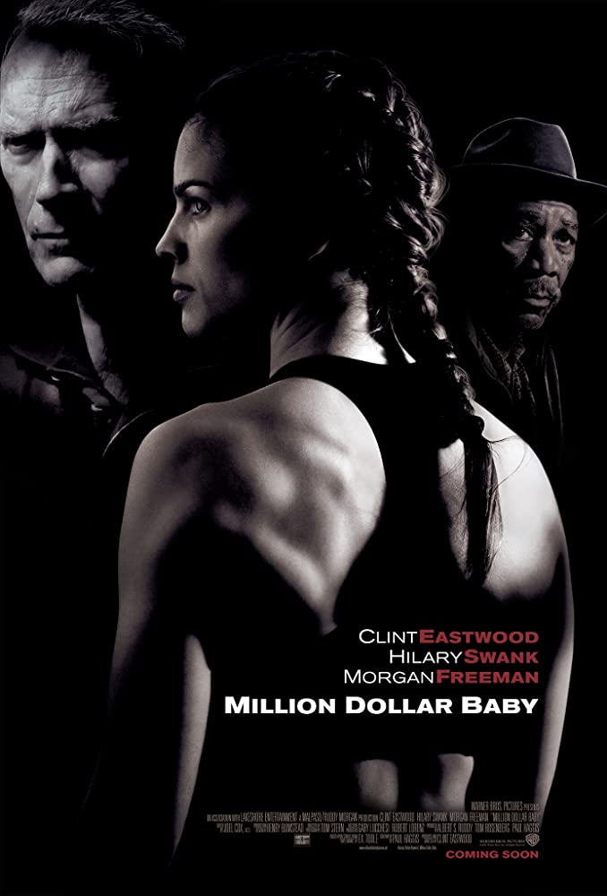 Clint Eastwood, Morgan Freeman, and Hilary Swank in Million Dollar Baby (2004)