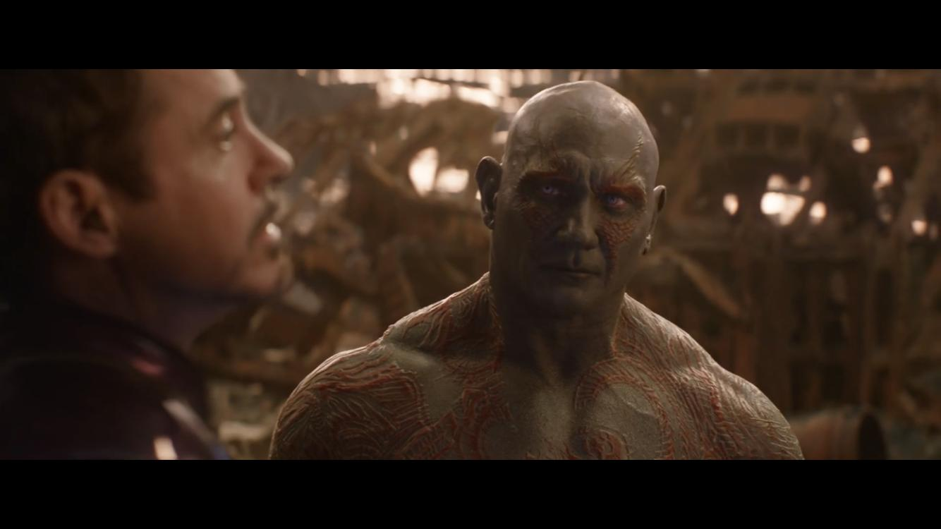 Robert Downey Jr. and Dave Bautista in Avengers: Infinity War (2018)
