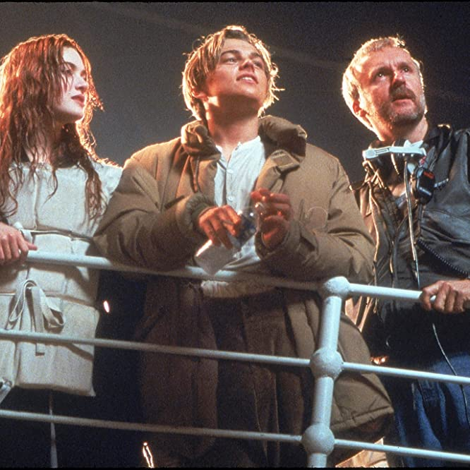 James Cameron, Leonardo DiCaprio, and Kate Winslet in Titanic (1997)