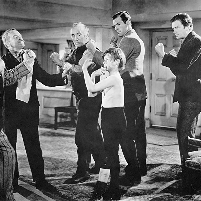 Roddy McDowall, Donald Crisp, Barry Fitzgerald, Richard Fraser, John Loder, and Rhys Williams in How Green Was My Valley (1941)