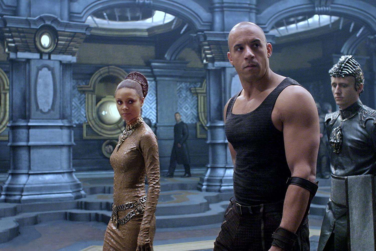 Vin Diesel, Thandie Newton, and Linus Roache in The Chronicles of Riddick (2004)
