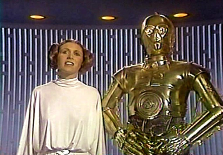 Anthony Daniels and Carrie Fisher in The Star Wars Holiday Special (1978)