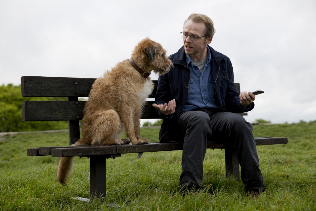 Simon Pegg and Mojo in Absolutely Anything (2015)