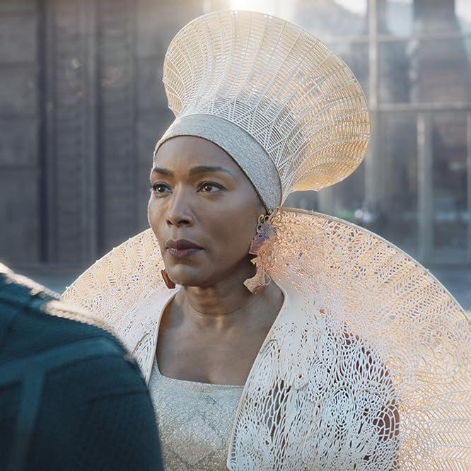Angela Bassett and Chadwick Boseman in Black Panther (2018)