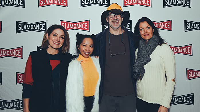 Sasha Alexander, Dan Mirvish, Bellamy Young, and Melanie Anne Padernal at an event for Bernard and Huey (2017)