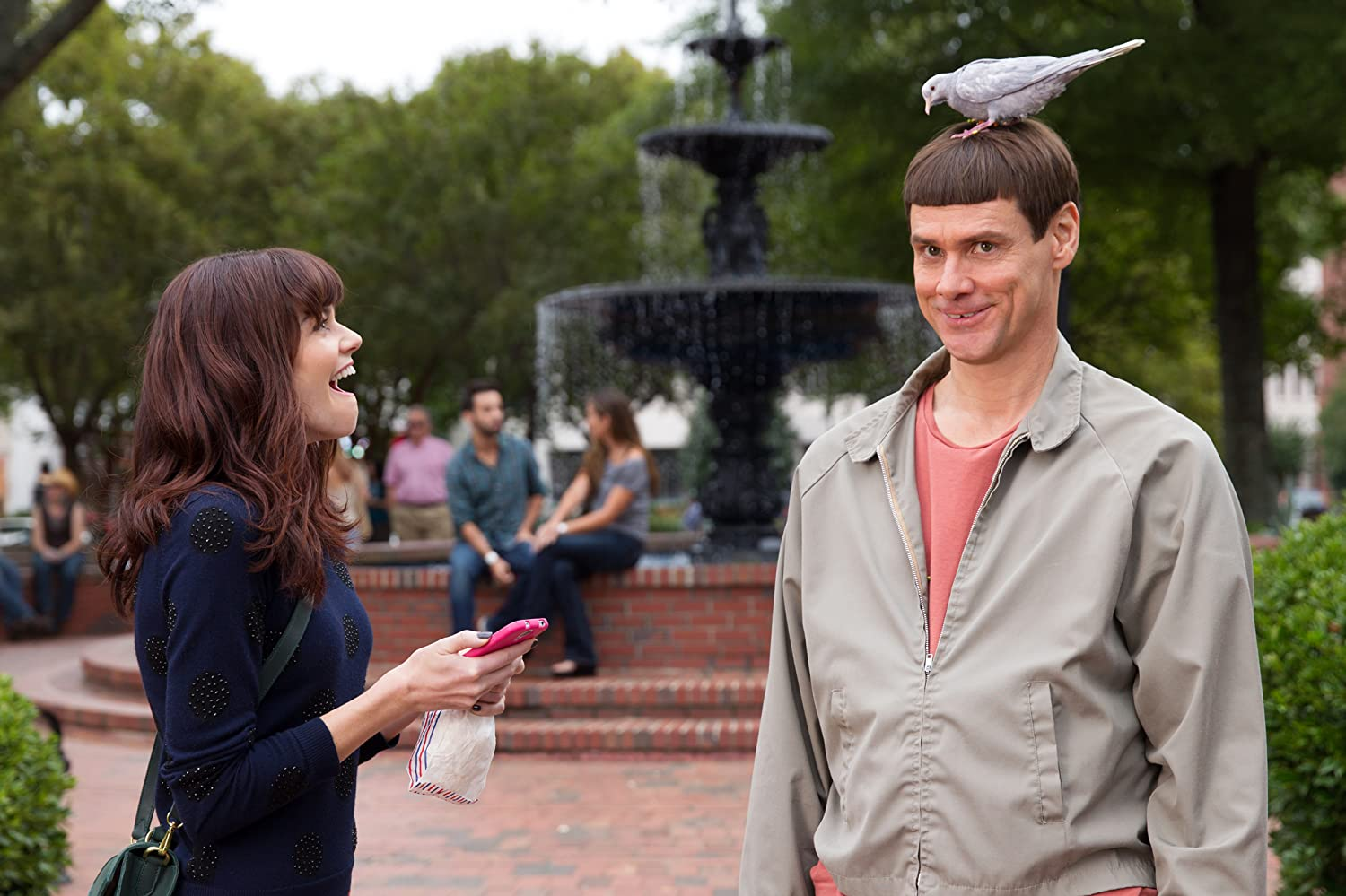 Jim Carrey and Rachel Melvin in Dumb and Dumber To (2014)