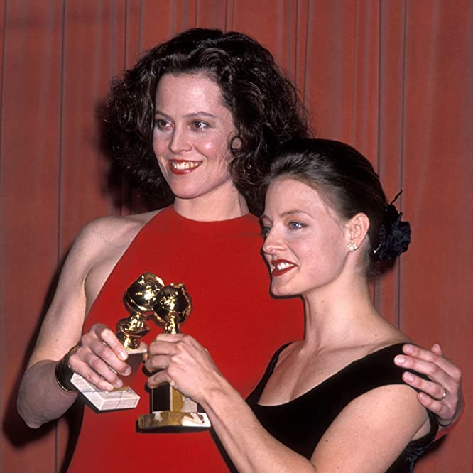 Jodie Foster and Sigourney Weaver at an event for The 46th Annual Golden Globe Awards (1989)