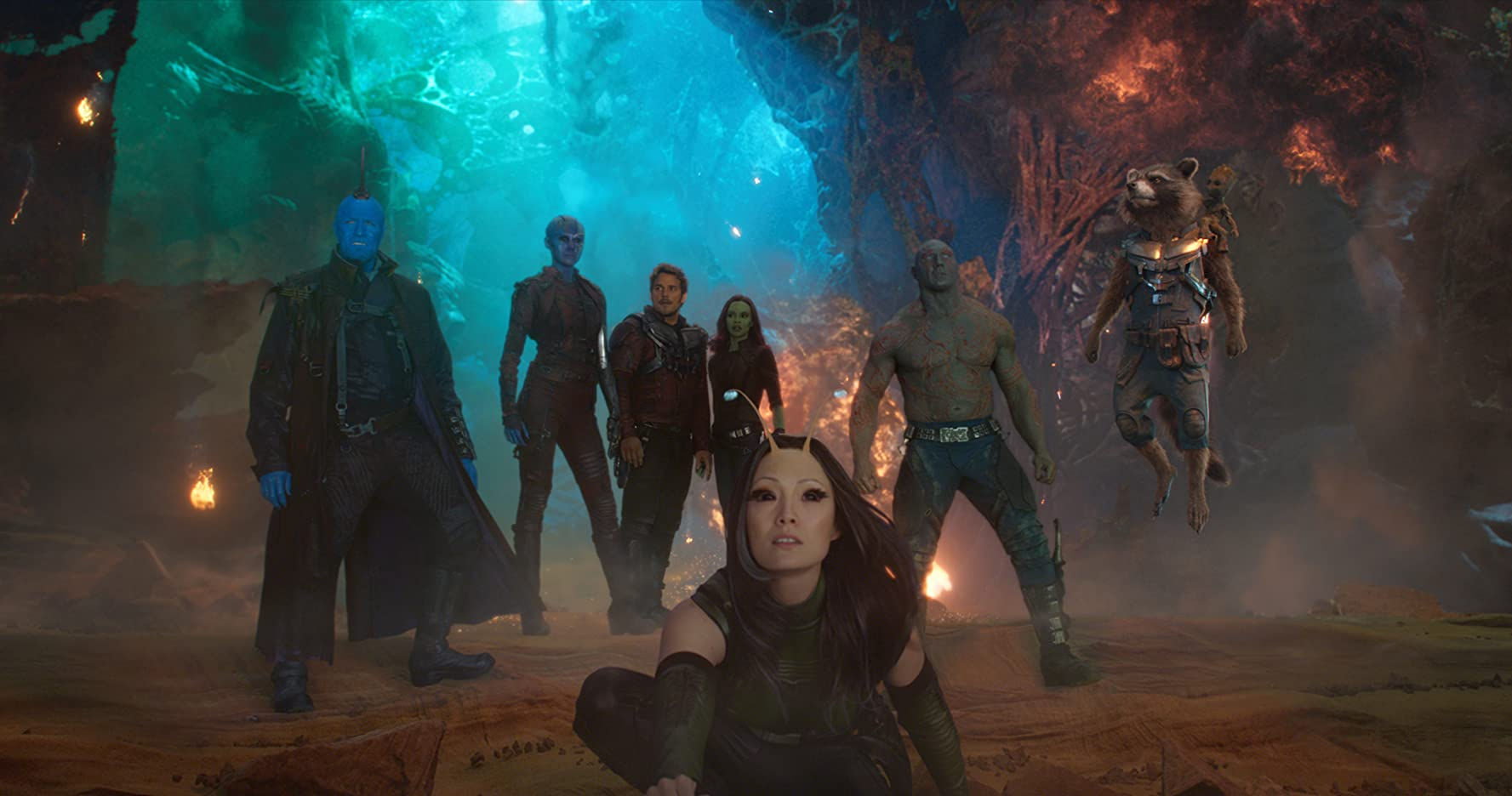 Vin Diesel, Bradley Cooper, Chris Pratt, Michael Rooker, Zoe Saldana, Dave Bautista, Karen Gillan, and Pom Klementieff in Guardians of the Galaxy Vol. 2 (2017)