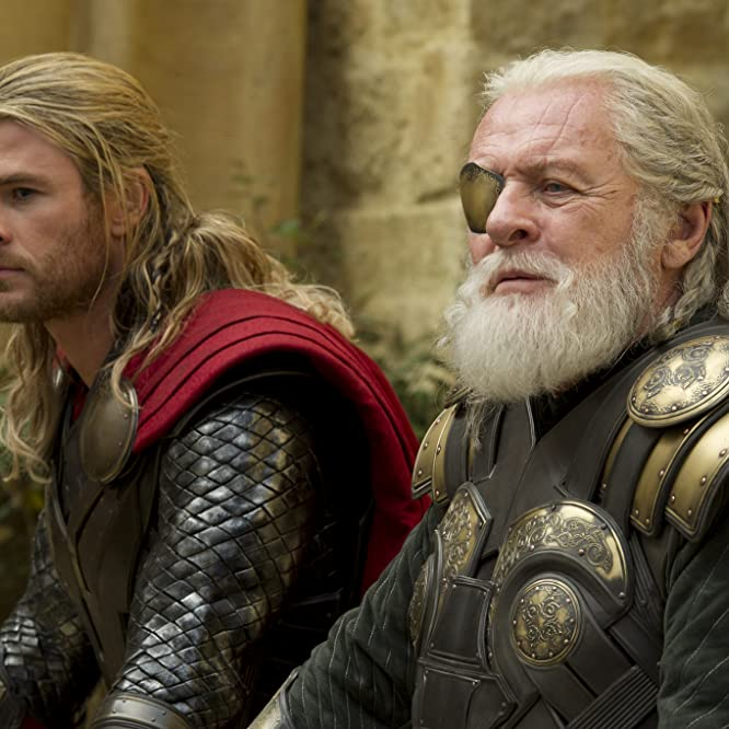 Anthony Hopkins and Chris Hemsworth in Thor: The Dark World (2013)